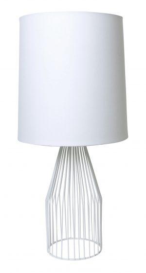Aron Lamp White /White Linen Cone