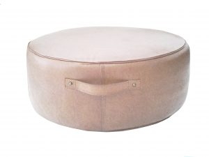 Aren Round Ottoman Blush Leather