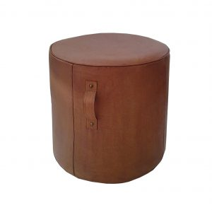 Aren Tall Leather Ottoman Tan