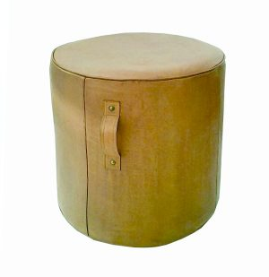 Aren Tall Leather Ottoman Caramel