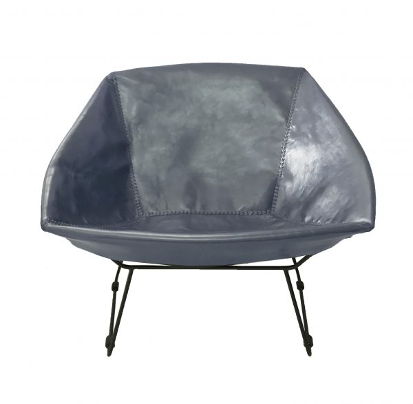 Saul Chair Grey Blue Leather