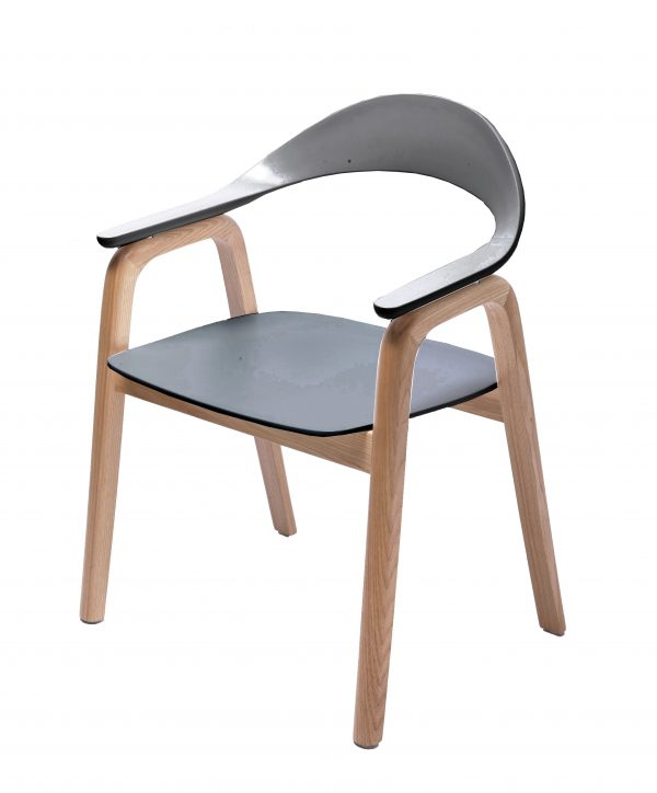 Gia Dining Chair Natural / Dark Grey